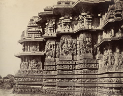 Hullabeed. The Great Temple. South-west front of northern vimana. [Hoysaleshwara Temple, Halebid.]